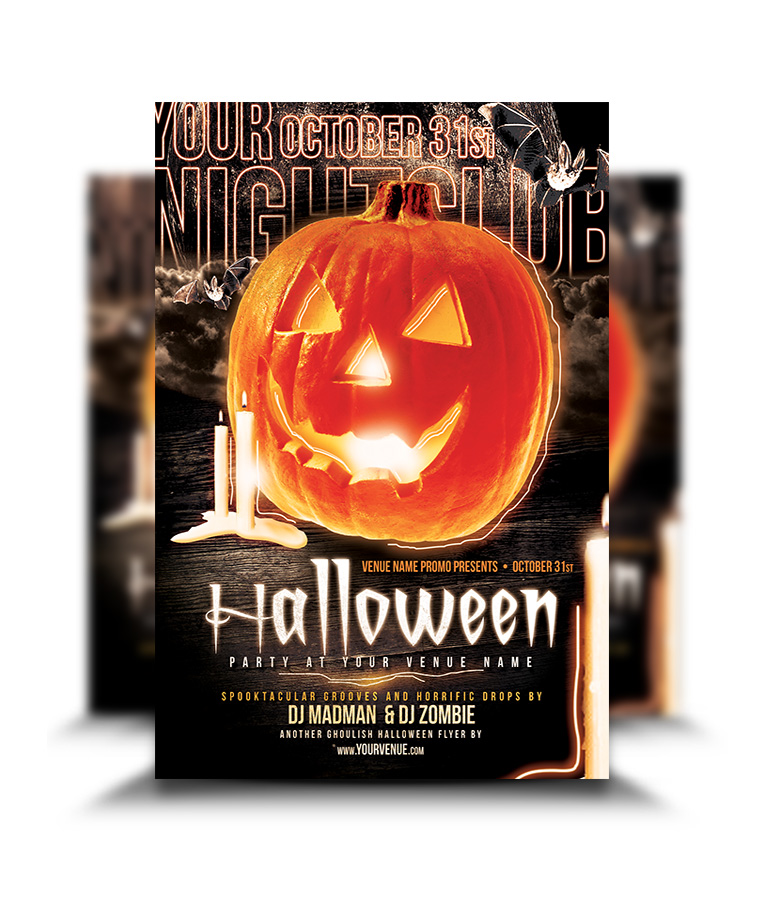 Halloween Stormy Nights Party Flyer - graphicsflood.com