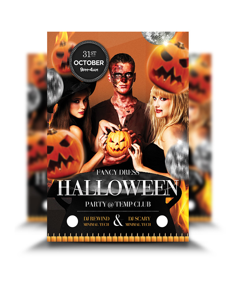 Stereotypical Halloween Design Style Party Flyer - graphicsflood.com