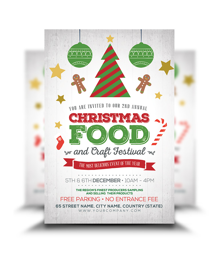 Christmas Flyers.Christmas Food And Crafts Festival Flyer