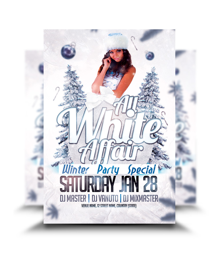 Christmas Party Flyer.All White Affair Christmas Party Flyer