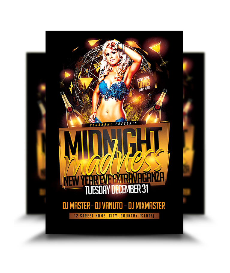 Midnight Madness New Year Eve Flyer