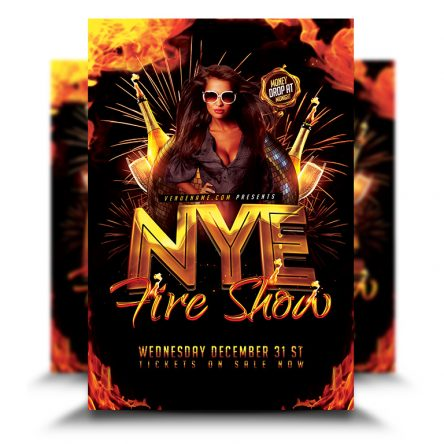 New Year Eve Fire Show Flyer